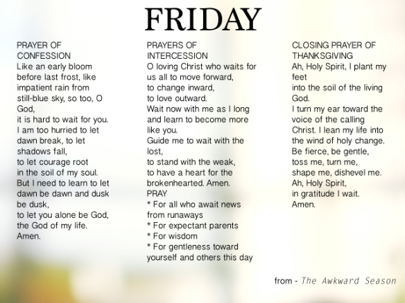 Good Friday Prayers from The Awkward Season- Prayers for Lent by Pamela C Hawkins