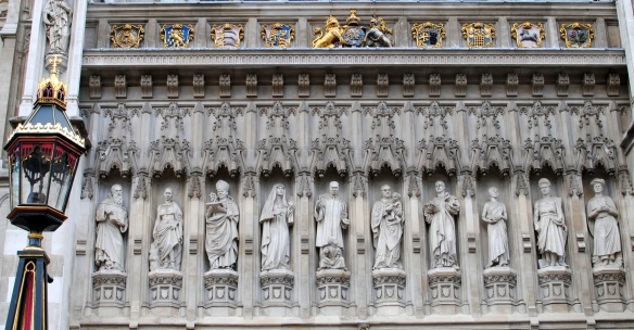 Ten 20th Century Martyrs remembered over a door to Westminster Abbey, London. Photo by Lisa Ann Moss Degrenia