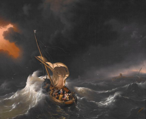 Christ in the Storm on the Sea of Galilee by Ludolf Backhuysen. Public Domain via Wikimedia Commons.