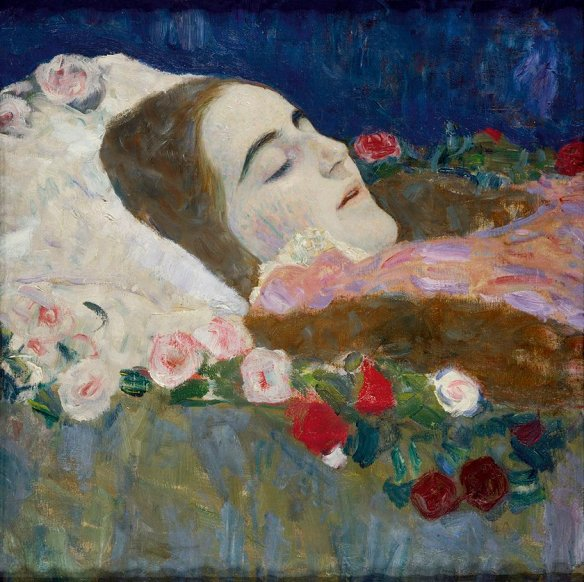 Ria Munk on her Deathbed by Gustav Klimt. Public Domain via Wikimedia Commons