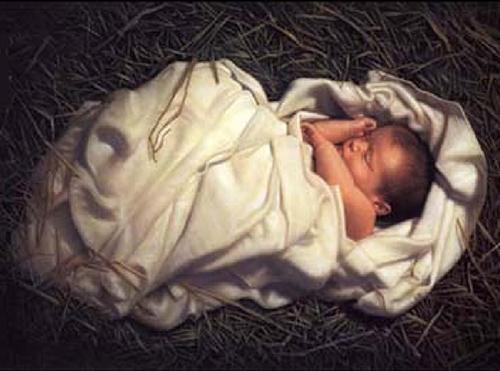 baby jesus asleep hay