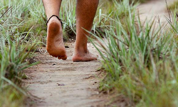 Barefoot-Walking on path