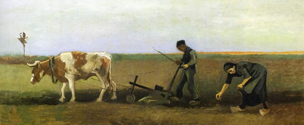 Ploughman With Woman Planting Potatoes by Vincent Van Gogh
