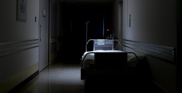 hospital bed dark hall