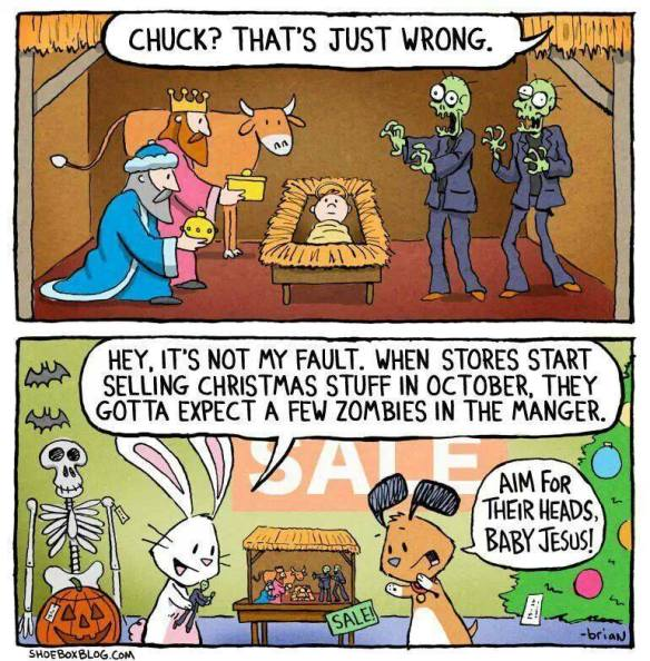 zombies in manger cartoon