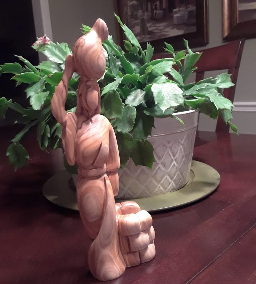 woman at well olive wood statue carving