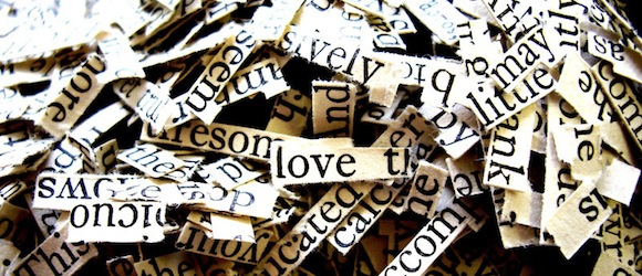 words pile scraps