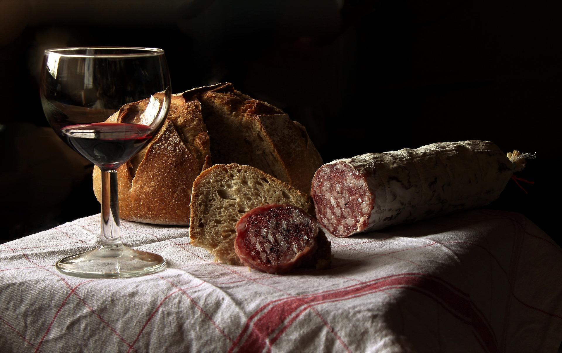 bread wine salami
